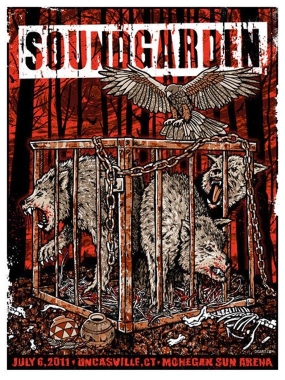 Soundgarden Rusty Cage Telephantasm King Animal Wolves Silk Screened Poster - Etsy