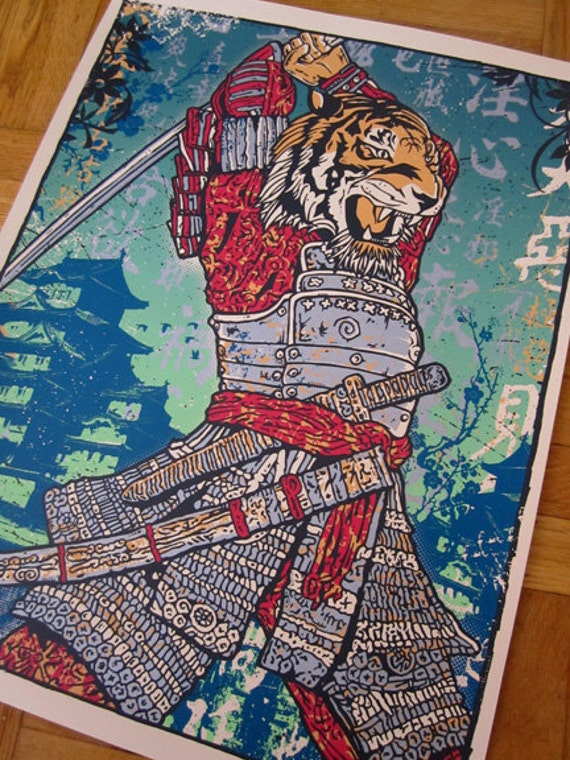 Samurai Tiger Attack Killer Japanese Chinese New Year Fighter