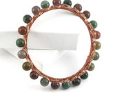 Indian Agate Copper Wire Wrapped Bangle Bracelet