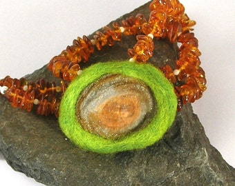Chalcedony Druzy, Amber, Felted Wool Necklace