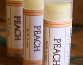 Peach Lip Balm - One Tube Beeswax Shea Cocoa Butter Jojoba