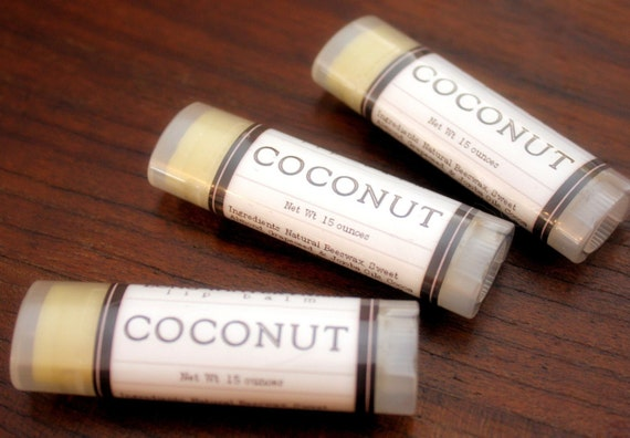 Coconut Lip Balm - One Tube Beeswax Shea Cocoa Butter Jojoba