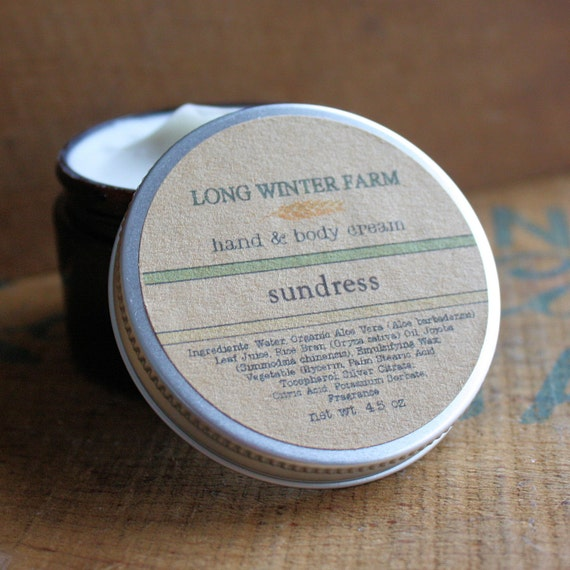 Sundress Skin Cream with Organic Aloe Juice hand body Lotion Cucumber Gardenia