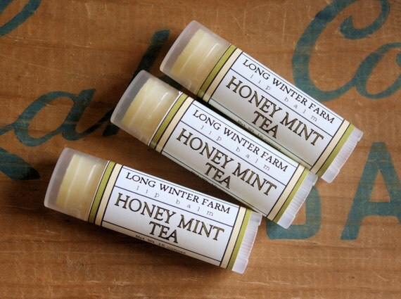 Honey Mint Tea Lip Balm - One Tube Beeswax Shea Cocoa Butter Jojoba