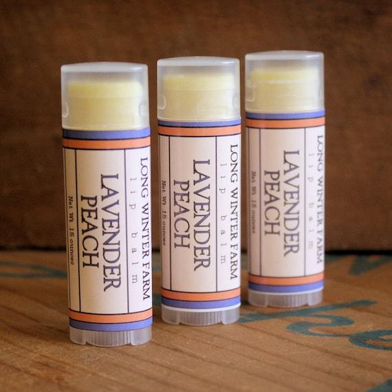 Lavender Peach Lip Balm - One Tube Beeswax Shea Cocoa Butter Jojoba