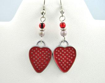 Enamel Earrings, Teen Jewelry, Red Earrings, Child Earrings, Strawberry Earrings, Teen Earrings, Earings, Kids Earrings, Kids Jewelry