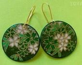 Green and White Flowered Yuzen Paper Earrings
