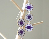 Purple and White Japanese Yuzen Paper Earrings