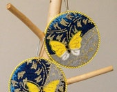 Blue and Yellow Japanese Yuzen Paper Earrings