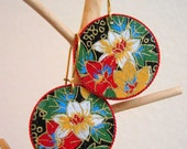 Flowered Yuzen paper earrings.