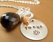 Focus - Stamped Necklace with Smoky Quartz and Peach Moonstone