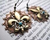 Steampunk Fleur-De-Lis Earrings brass copper