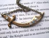 Aladdin Necklace- brass swarovski jeweled scimitar