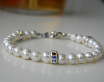Bracelet ~ Birthstone ~ June ~ Pearl ~ Freshwater Pearl ~ Swarovski Pearl ~ Baby ~ Toddler ~ Child ~ Flower Girl ~ Sparkle