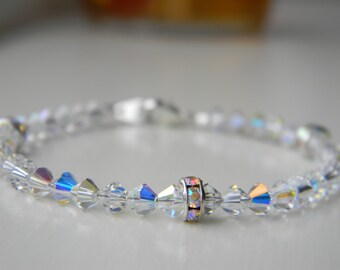 Bracelet ~ Birthstone ~ April ~ Diamond ~ Crystal AB  ~ Swarovski Crystal ~ Baby ~ Toddler ~ Child ~ Flower Girl ~ Wedding ~ Sparkle