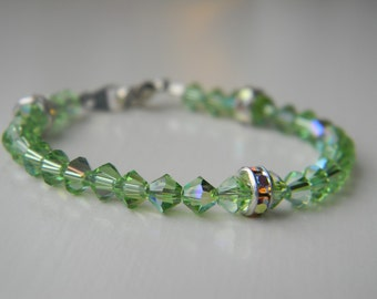 Bracelet ~ Birthstone ~ August ~ Peridot ~ Green ~ Swarovski Crystal ~ Baby ~ Toddler ~ Child ~ Flower Girl ~ Sparkle