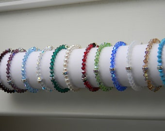 Birthstone Bracelet .  (you choose the color) . Swarovski crystal . Wedding . Bridal . Flower Girl . FREE SHIPPING