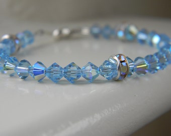 Bracelet ~ Birthstone ~ March ~ Aqua ~ Blue ~ Swarovski Crystal ~ Baby ~ Toddler ~ Child ~ Flower Girl ~ Wedding ~ Sparkle