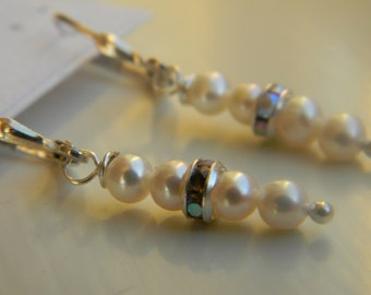 Earrings . White Pearl .  June Birthstone . Freshwater Pearl . Sparkle . FREE SHIPPING