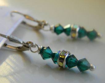 Earrings . Emerald green .  May Birthstone . Swarovski Crystal . Sparkle . FREE SHIPPING