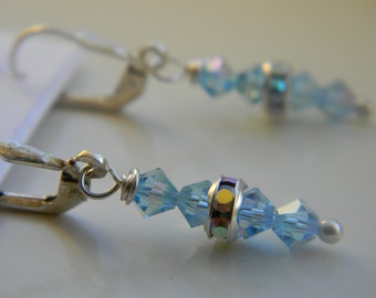Earrings . Aqua Blue .  March Birthstone . Swarovski Crystal . Sparkle . FREE SHIPPING