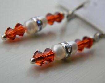 Earrings . UT . Texas Longhorn . Orange . White . Swarovski Crystal . Freshwater pearls . Austin . Texas . FREE Shipping