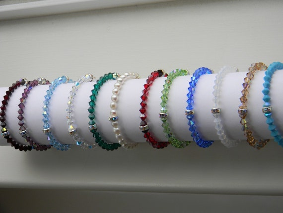 Birthstone Bracelet .  (you choose the color) . Swarovski crystal . Wedding . Bridal . Flower Girl . FREE SHIPPING