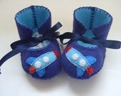 Baby Boy Booties Felt Soft Baby Shoes Blue Rocket Baby First Shoes Baby Ugg Boots Baby Boot Booty Crib Shoe Baby Booty Baby Boy Gift Clothes