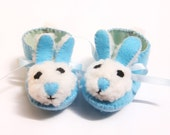 Blue and Cream Mr Bunny Babies Shoes Easter Baby Boy Booties Perfect for Baby Shower Gift