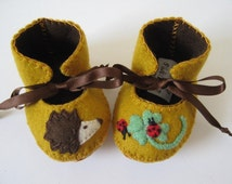 Cool Mom Picks Editors Best for 2010- Baby Booties Hedgehog, Ladybird ECO Baby Shoes Baby Boots Unisex Baby Gift Baby Shower Baby Bootees