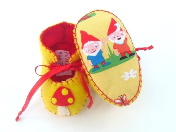 Garden Gnomes Unisex ECO Baby Booties Baby Boots Baby Bootees Baby Booty Shoe Newborn Infant Baby First Shoes Baby Shower Gift