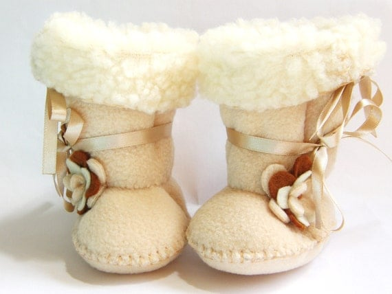 Toddler Boots Ugg Fleece Baby Boots Ugg Boots Toddler Booties Faux Sheepskin Fur Toddler Girl Shoes Flower Girl Shoes in Cafe Latte