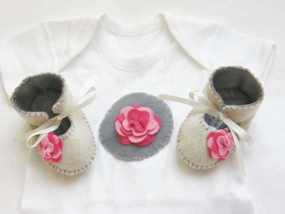 Rose Baby GIft Set for Baby Girls Baby Girl Shoes Flower Girl Baby Shoe Booty Baby Onesie Bodysuit. Great as a Baby Gift and Baby Showers