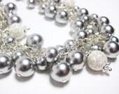 Bridal Bracelet, Pearl Cluster Bridal Bracelet, Bridal Jewelry, Stardust Silver and Light Grey Pearl Wedding Bracelet