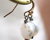 White Freshwater Coin Pearl Earrings, Gold Earrings, Oxidized Sterling Silver Earrings, Pearl Drop Simple Earrings, Small Drop Earrings
