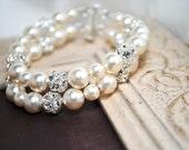 Ivory Pearl Bridal Bracelet, 2 Strand Rhinestone Sparkle Wedding Bracelet, Swarovski Pearls and Crystals, Cassandra Bracelet B205B07