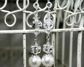 Rhinestone Bridal Earrings, Wedding Handmade Swarovski Crystal White Pearl Dangle, Beverley E290B10