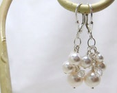 Bridal Earrings, Cluster Earrings, Bridesmaids Earrings, Dangle Earrings, Wedding Earrings, Pearl and Crystal Earrings, White Pearl Earrings