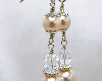 Bridal Earrings, Dangle Earrings, Pearl Earrings, Swarovski jewelry, Crystal Earrings, Wedding Jewelry, Ivory Pearl Earrings, Long Earrings