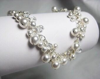 Bridal Bracelet, White Pearl Bracelet, Pearl Cluster Bracelet, Charm Bracelet, Swarovski Crystal Bracelet, Wedding Bracelet, Pearl Jewelry
