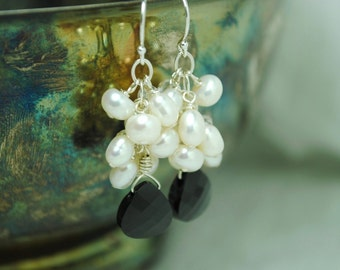 Bridal Earrings, Ivory Pearl Earrings, Cluster Earrings, Black Crystal Pendant Earrings, Crystal Jewelry, Freshwater Pearl Wedding Earrings