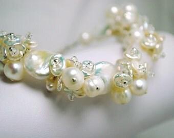 Bridal Bracelet, Freshwater Pearl Cluster Bracelet, Crystal Bridal Jewelry, Beach Wedding Jewelry, Wedding Bracelet, Antoinette Bracelet