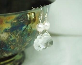 Earrings Swarovski Crystal Briolette Dangle Pearl Bridal Wedding Handmade