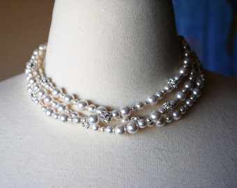 Three Strand Bridal Necklace, White Pearl Necklace, Bridal Jewelry, Wedding Swarovski Fireballs, Special Occasion, Handmade, Tassie N262B10