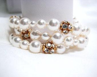 Pearl Bridal Bracelet, 3 Strand Swarovski Pearl and Rhinestone Balls Wedding Bracelet, White Pearls Bracelet, Gold Jewelry, Elegant Cuff