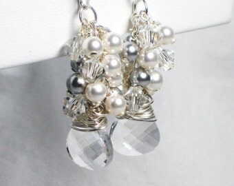 Bridal Earrings, White Pearl Cluster Earrings, Swarovski Crystal Briolette, Bridal Jewelry, Wedding Earrings, Long, Dangle, Wedding Jewelry