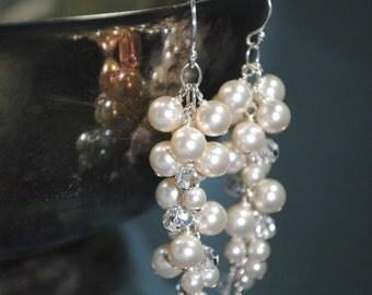 Bridal Earrings, Long Swarovski Pearl Crystal Cluster Earrings, Elegant, Special Occasion, Wedding Earrings, Bridal Jewelry, Ivory Pearl