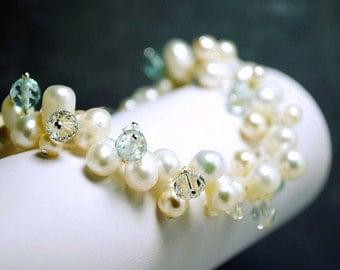 Ivory Freshwater Pearl Bracelet,  Bridal Jewelry, Aqua Quartz Something Blue, Crystals Clusters, Grace Bracelet B218B09A