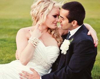 Bridal Bracelet, Large Pearl, 6 Strand, Swarovski Ivory Pearls, Wedding Bracelet, Couture Pearl Bracelet, Thick Cuff, Six Strand