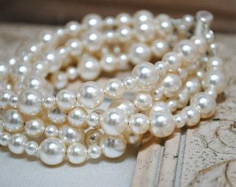 Bridal Bracelet, Ivory Pearl 5 Strands Wedding Bracelet, Bridal Jewelry, Special Occasion, Swarovski Pearls, Liz B217B09IV